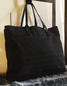 Fendi Leather Silver Hardware Canvas Monogram Pop Tote in Black