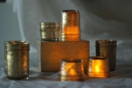 Gold 29 - Mason Jars W/ Led Lights Centerpiece