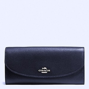 Coach Midnight Leather Long Envelope Wallet With Gift Box