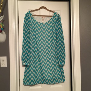 L8ter short dress Beige and Teal on Tradesy