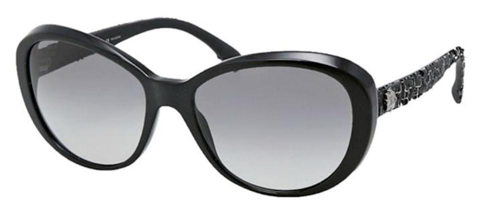 5f760dff0a Chanel 5241 Sunglasses Tweed Boy Collection CC Logo Black Cat Eye Oversized  Image 0 ...