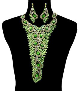 Other Green Rhinestone Crystal Necklace And Earrings Fashion Statement Set