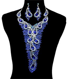 Royal Blue Rhinestone Crystal Necklace And Earrings Statement Set
