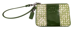 Coach Signature Signature Wristlet in Green & White