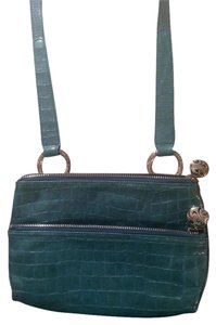 Brighton Croc Embossed Silver Harward Cross Body Bag