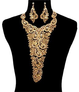 Other Topaz Gold Rhinestone Crystal Necklace And Earrings Statement Set