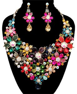 Other Multicolor Rhinestone Crystal Necklace And Earrings Statement Set