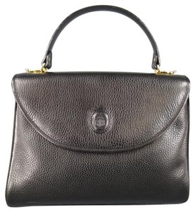 Mark Cross Vintage Leather Murphy Pebbled Embossed Satchel in Black