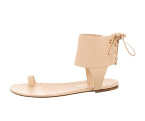 Chanel Leather Gold-tone Cc Logo Beige Sandals