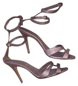 Manolo Blahnik Ankle Strap Caged Heels Metallic Sandals