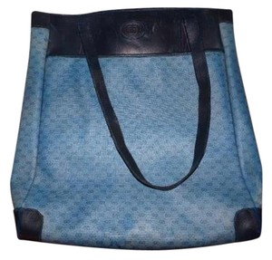Gucci Hardware Tote in shades of blue coated canvas with small G logo/leather/red/navy straps