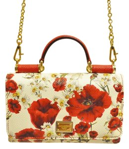 Dolce&Gabbana D&g Mini Floral Print Leather Made In Italy Sicily Von Cross Body Bag