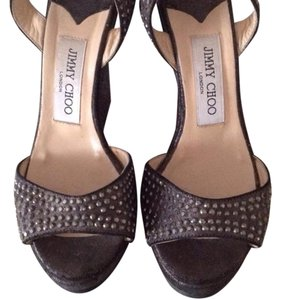 Jimmy Choo Black and silver Wedges