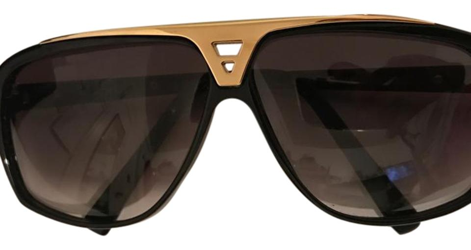 8c913c99cca06 Louis Vuitton Black and Gold Acetate Frame Zo350w Evidence Sunglasses