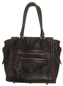 orYANY Leather Zipper Leather Moto Tote in Black