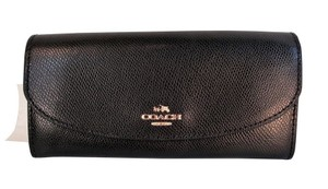 Coach Coach F54009 Crossgrain Leather Slim Envelop Clutch Wallet Black