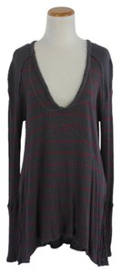 Free People T Shirt Grey stripe and purple