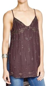 Free People Beaded Embellished Tunic Blouse Top Charcoal Brown