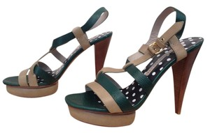 Marc by Marc Jacobs Platform Sandal High Heel Leather Green Pumps