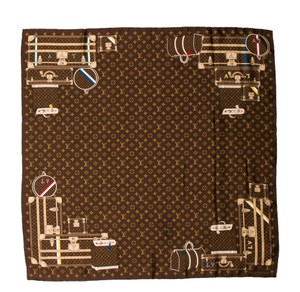 Louis Vuitton Brown, beige Louis Vuitton silk Trunks and Bags LV monogram scarf