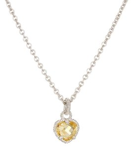 Judith Ripka Judith Ripka Silver Faceted Canary Crystal Heart Pendant Necklace