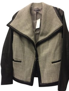 Vince Leather Wool Gray and black Leather Jacket