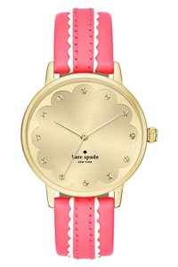 Kate Spade KATE SPADE NEW YORK Scallop 'Metro' Leather Strap Watch, 34mm