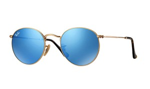 Ray-Ban RB 3447N 001/90 GOLD METAL - BLUE MIRROR SUNGLASSES
