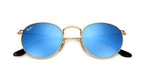 Ray-Ban RB 3447 001/90 (color) GOLD with BLUE MIRROR ROUND -Free Shipping