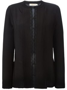 Tory Burch Bib Button Up Work Top Black
