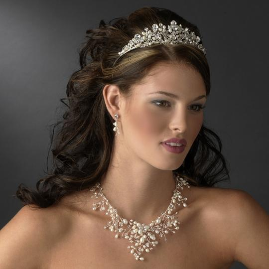 Bella Tiara Beautiful Romantic Ivory Pearl Crystal Wedding Necklace Set