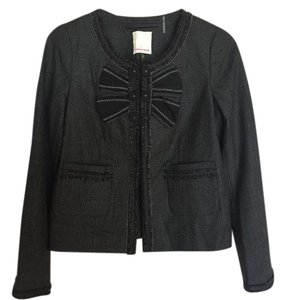 Rebecca Taylor Wool Silk Black Gray Blazer