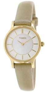 Timex Timex Women's Classic T2P313 Beige Leather Analog Quartz Watch