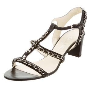 Chanel Silver Hardware Interlocking Cc Strappy Chain Embellished Black, Silver Sandals