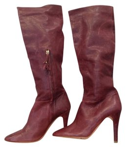 Rebecca Taylor Tall Zipper Genuine Leather Bordeaux Boots