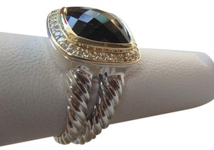 David Yurman 11mm silver Albion Ring with smokey quartz & Diamonds, Gold size 7