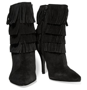 SCHUTZ Leather Fringe Hem Suede Black Boots