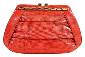 Judith Leiber Gold Tone Red Clutch