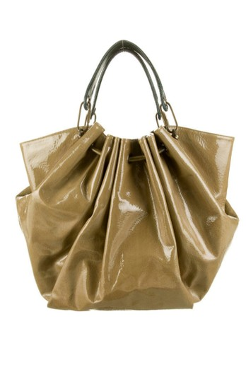 Lanvin Distressed Patent Leather Ostrich Metallic Hardware Huge Edgy Tote in Taupe