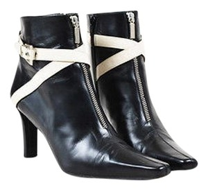 Stuart Weitzman Cream Leather Pointed Square Toe Black Boots