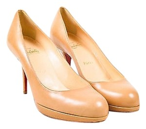 Christian Louboutin Leather New Simple 85 Platform Beige Pumps