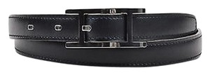 Hermès Reversible Hermes Black Box Calf Leather Silver Tone Quentin Skinny Belt 80