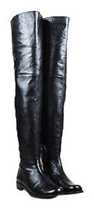 Stuart Weitzman Leather Over The Knee Black Boots