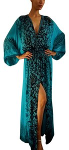 Blue Maxi Dress by Roberto Cavalli Silk Kaftan High-low