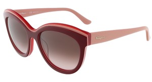 Salvatore Ferragamo Women's Round SF757S Bordeaux Red Butterfly Sunglasses