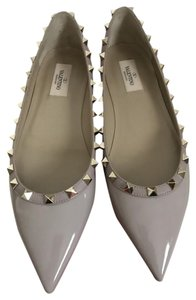 Valentino Pointed Toe Rockstud Patent Leather Nude Flats