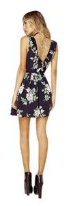 Blue Life short dress Multi Floral Black Floral Deep V Plunging on Tradesy