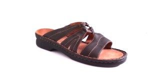Clarks Dark Brown Pebble Leather Sandals