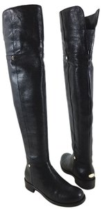Jimmy Choo Grain Leather Side Zip Leather Upper Leather Lining Black Boots