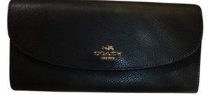 Coach Coach Crossgrain Leather Slim Envelope Wallet Black F52628 CLUTCH